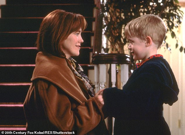 Classic: Catherine played Kevin's mother in the first two Home Alone films alongside Macauley Culkin in 1990 and 1992 (pictured in the first film)