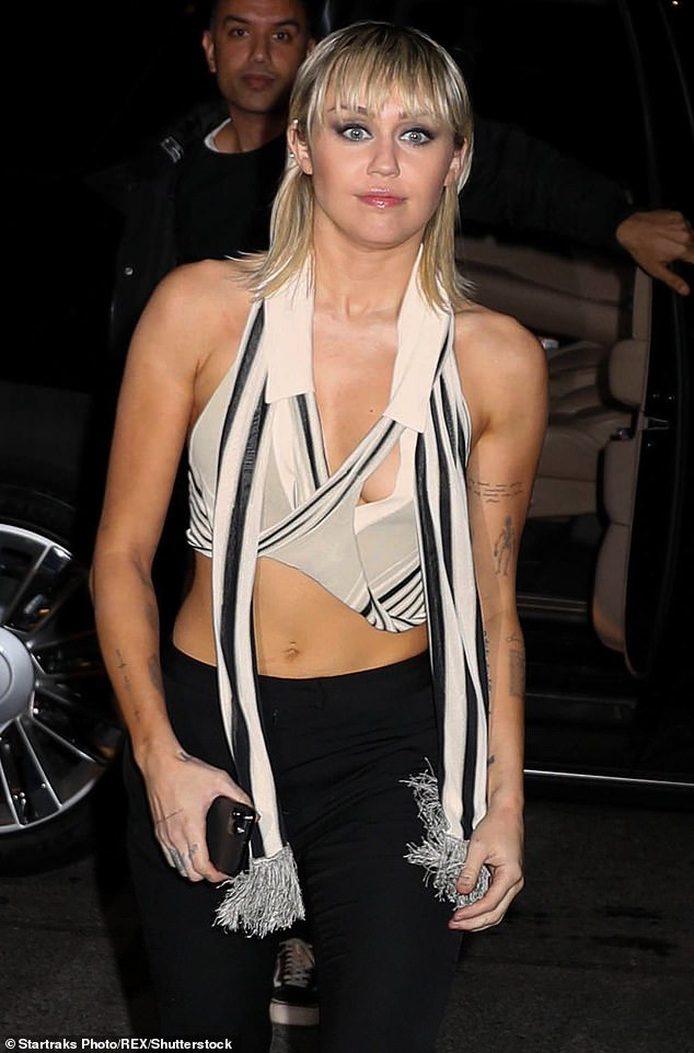 Ouch! Miley revealed that on one occasion her brothers, Trace, 31, Christopher, 28, and Braison, 26, didn't speak to her for a week and her mother Tish, 53, cried (pictured Feb 2020)