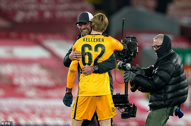 Jurgen Klopp ran onto the pitch right after the final whistle to congratulate Kelleher (above)