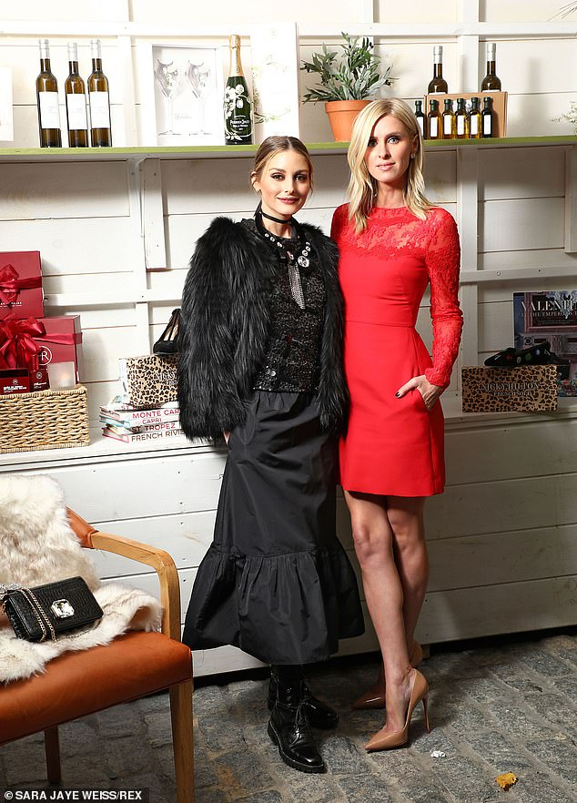 Nicky Hilton is stylish in red mini dress as she joins Olivia Palermo for holiday market launch