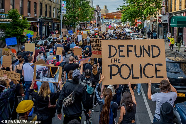 Protesters have continued to push 'defund the police' since the Memorial Day death of George Floyd, who died under the knee of a white Milwaukee cop, as well as other black Americans, including Breonna Taylor and Rayshard Brooks, who were killed by law enforcement