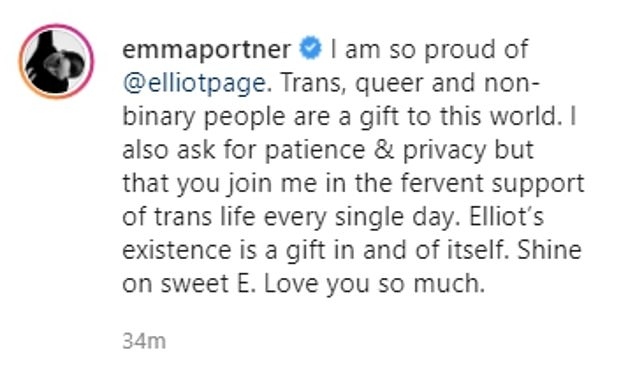 Emotional: Elliot's wife Emma took to Instagram shortly after the actor shared his statement to offer public words of support, writing 'Shine on sweet E. Love you so much'