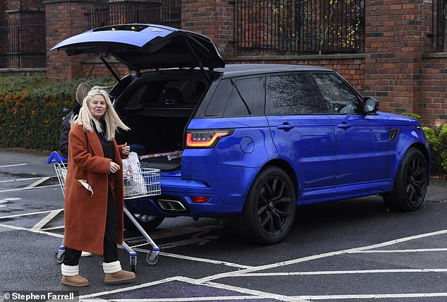 Parent and child? When the TV personality, 40, arrived she parked her new £100K Range Rover in a parent and child car parking space, which are usually reserved for mothers and fathers who need extra space to help their small children in and out of their vehicles