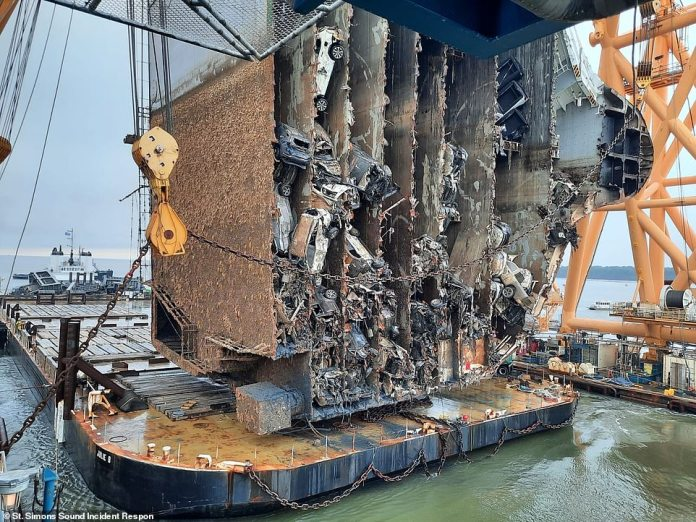 South Korean ship Golden Ray finally scrapped after months of setbacks, dismantling reveals the many cars stacked inside