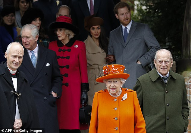 Prince Charles and the Duchess of Cornwall will spend Christmas at Highgrove, Gloucestershire.  Pictured The Queen and Duke of Edinburgh with Prince Charles, Duchess of Cornwall, Duke and Duchess of Cambridge and Duke and Duchess of Sussex on Christmas Day in 2017