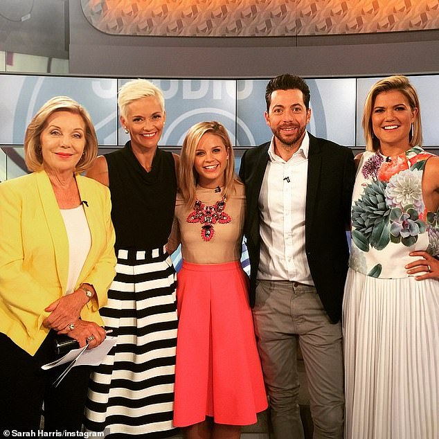 Her support: She revealed to the AWW that she suffered postnatal depression after both babies, but friend and former Studio 10 co-host Jessica Rowe (second left) helped her through