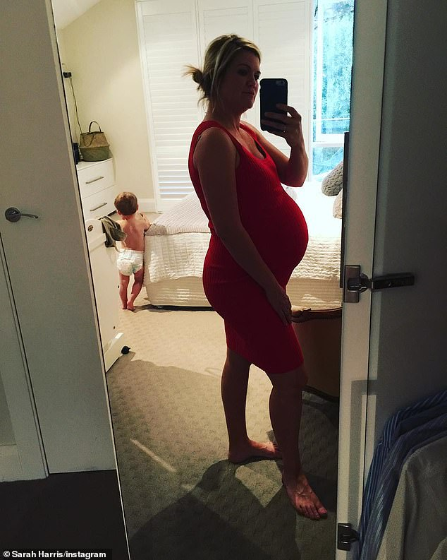 Shocking news: Sarah said she booked in for a D&C (a dilation and curettage) and then hinted that she didn't even know she was pregnant with twins until a sonographer heard a heartbeat and asked if she had 'twins in the family.' Pictured pregnant with Harry
