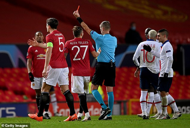 Fred (not pictured) was shown a red card for a second bookable offence in the second-half