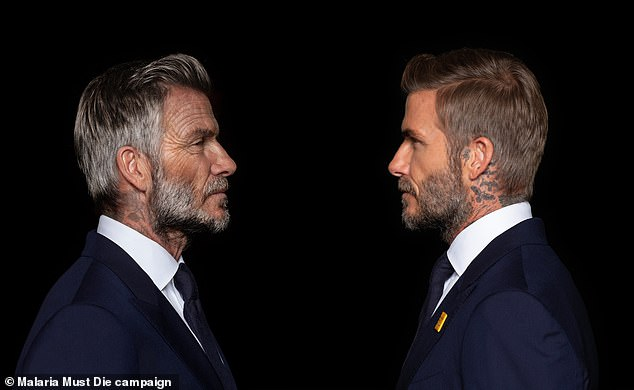 Aged-up:As well as being aged up, David's tattoos appeared faded as he faced himself in a side-by-side shot for the video campaign