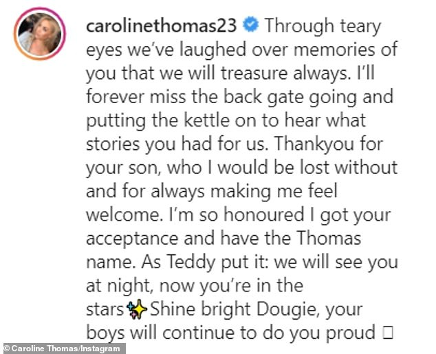 Thank you: Caroline Thomasposthumously thanked Dougie for his kindness, and for bringing husband Adam into the world