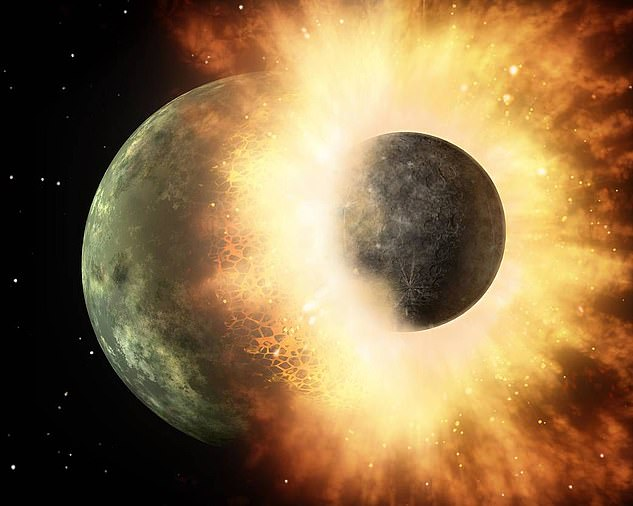 This artist's concept shows a celestial body the size of our moon slamming into a planetary body in a scenario that could be similar to that of Theia colliding with Earth.