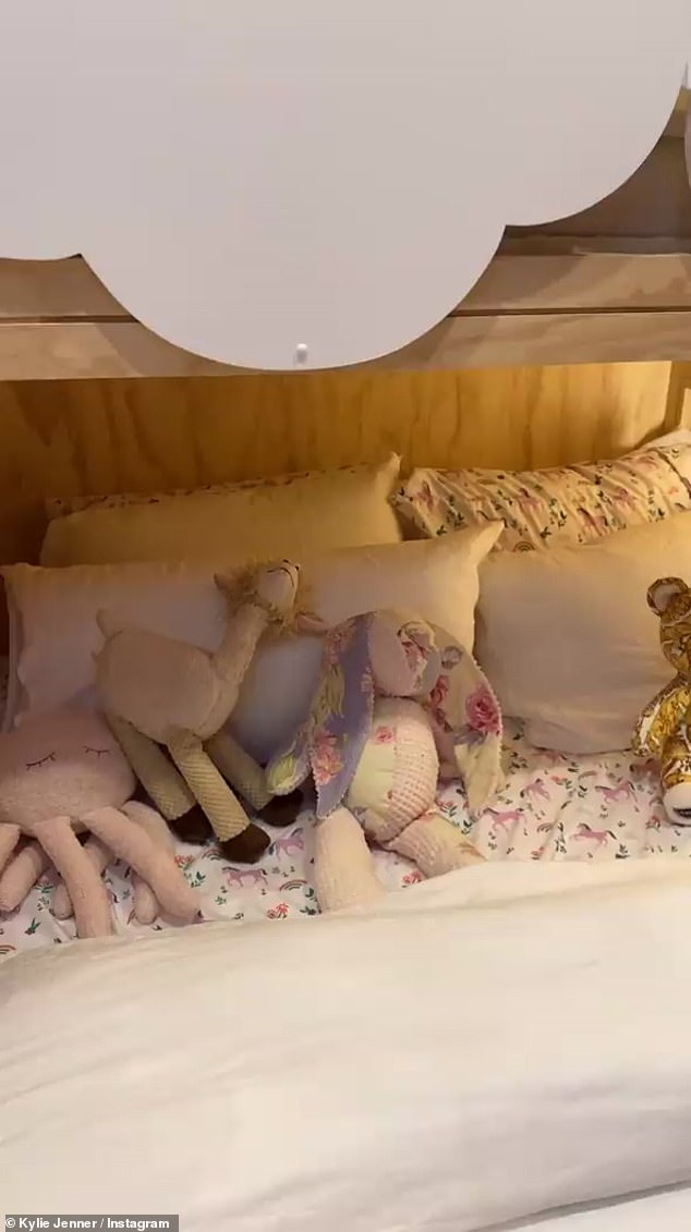 'I could weep':Kris was on the verge of tears yet again while touring Stormi's room, which contained a toy rabbit Kylie had before she was bor