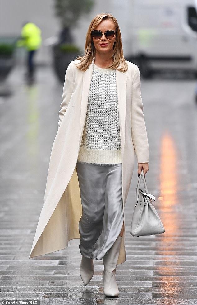 Amanda Holden looks effortlessly chic as she leaves Heart FM