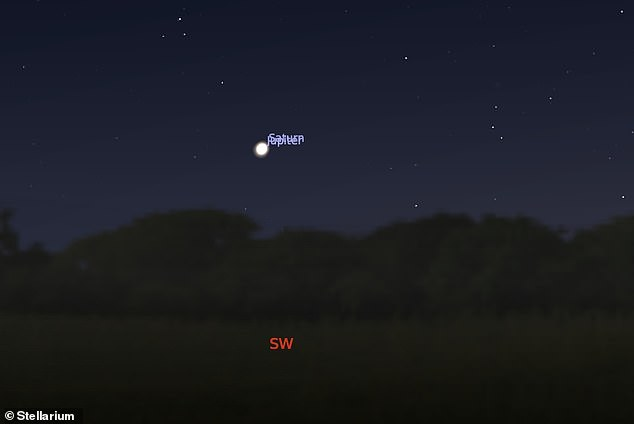 Saturn and Jupiter will appear low on the horizon just after sunset in the south west tonight — less than a full Moon width apart — appearing almost as one object