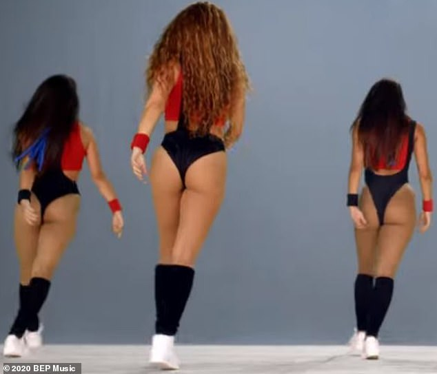 Cheeky Display: Shakira's workout look was cut in to display the sensational curves that made her the perfect artist to sing Hips Don't Lie all those years ago