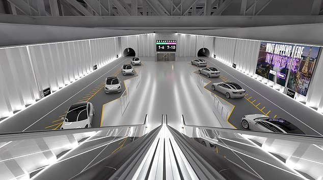 Musk shared renders (pictured) earlier this year of what the area will look like once it is complete.Above the tunnels is a display showing passengers when and where their vehicles will depart and, for color, a sprawling wall ad for Las Vegas tourism sporting the city's 'What happens in Vegas, only happens here' slogan