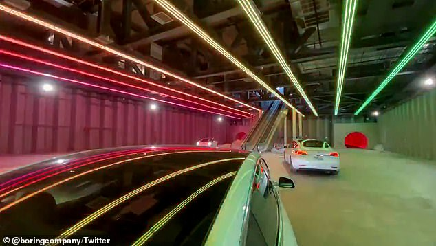 The video, shared on Twitter , was shot inside the Loop's hub where passengers will be transported from one end of the convention center to the other in a Model 3 electric vehicle