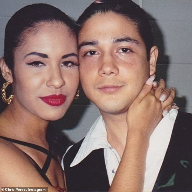 Young love: Pérez joined their group Selena y Los Dinos as lead guitarist in 1989, quickly sparking a secret romance with the young lead singer, against his father's wishes.
