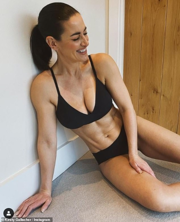 Natural beauty: Kirsty Gallacherdisplayed her incredibly toned physique in a seamless black bra and matching briefs from the underwear brand, Sloggi, on Saturday