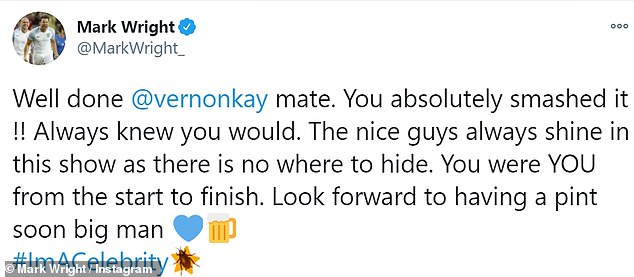 Changed your mind?Despite his apparently giddy nature, Mark appeared to have changed his mind as he deleted the tweet and instead pledged allegiance and offered congratulations to Vernon Kay, who came in third place on the show