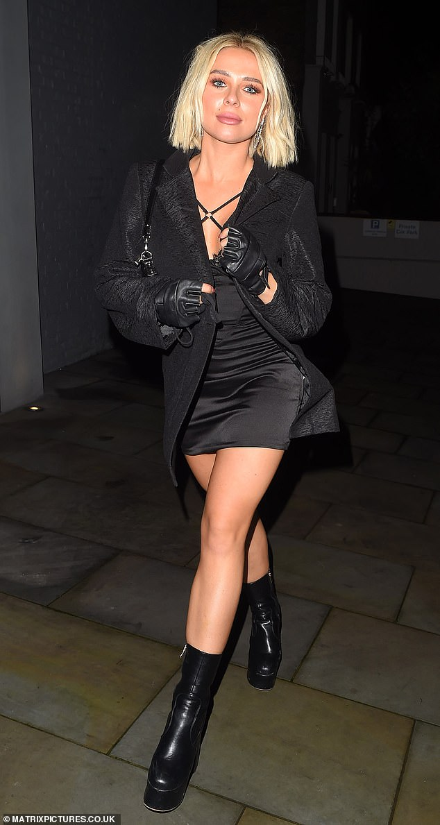 Glamorous: Gabby Allen took some time out of her busy schedule on Friday as she enjoyed an evening out at London's Chelsea Lodge with her boyfriend Brandon Myers
