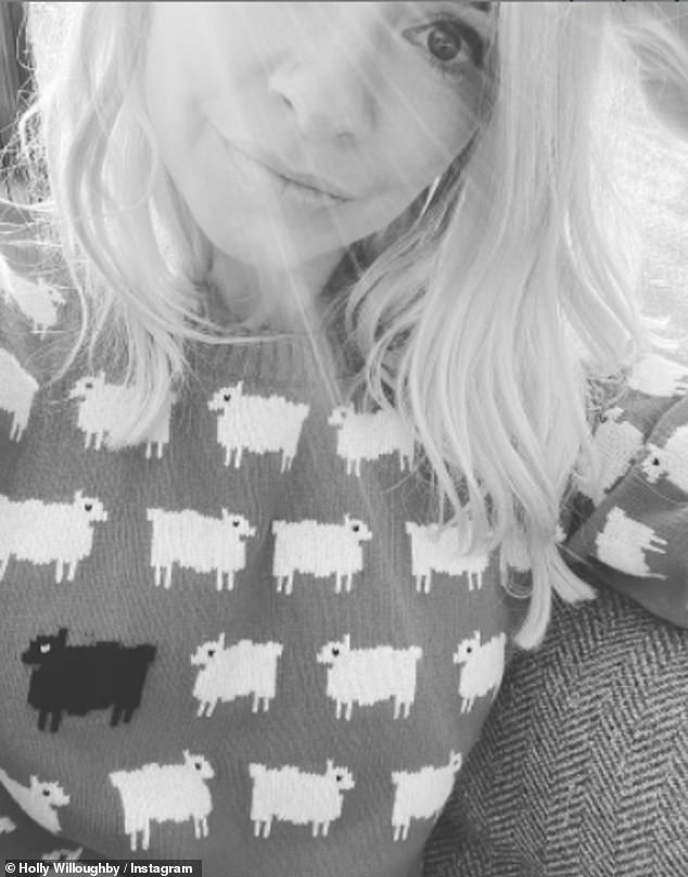Royal inspiration:Holly Willoughby channelled Princess Diana on Saturday as she took to Instagram to share a picture of herself wearing her iconic 'black sheep' jumper