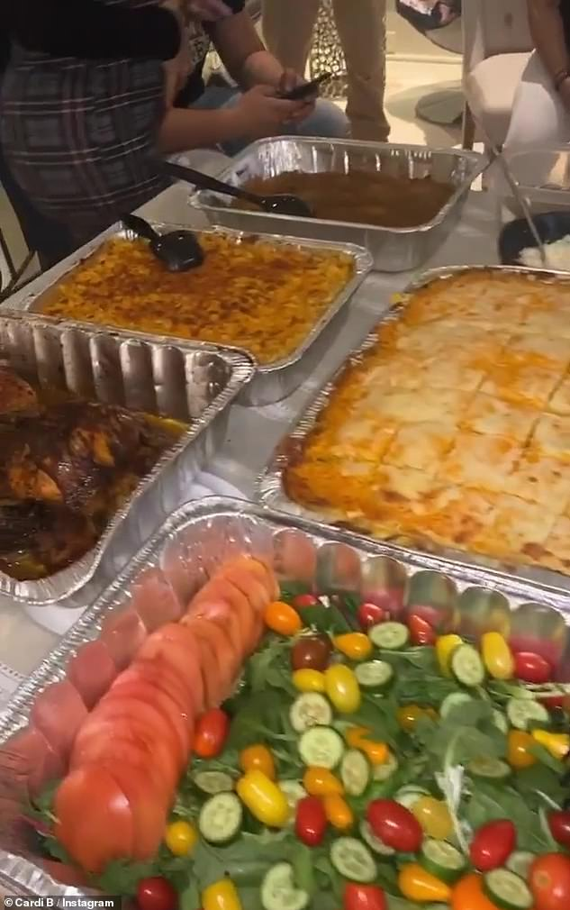 Family reunion: She shared photos of the Thanksgiving meal she prepared for her guests who gathered around the buffet table