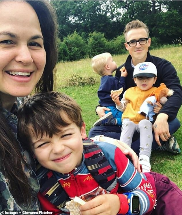 Family: It comes after Giovannasaid she felt like she has proved mothers are 'strong' and can 'do anything' after she won I'm A Celebrity 2020 (pictured with her sons and Tom)