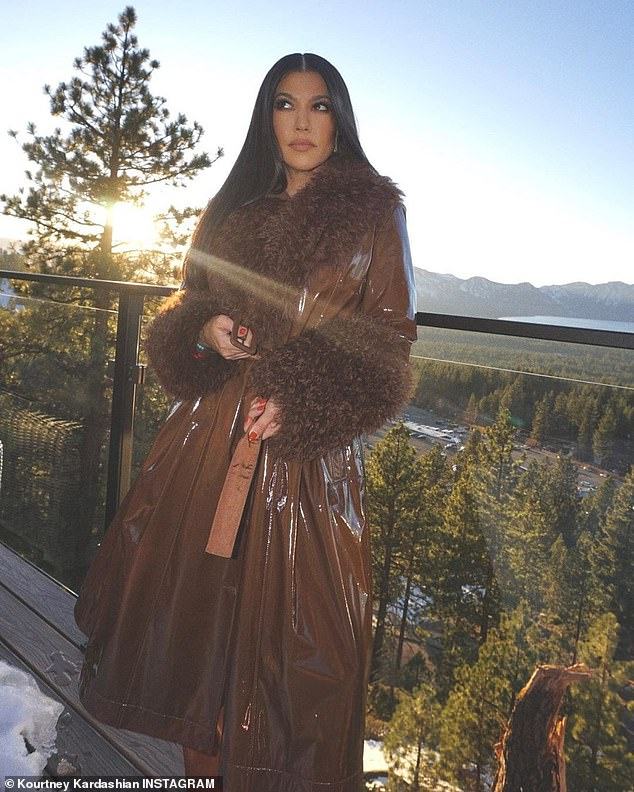 Only the best:As the famous family filmed the final season of their reality show at a 17,000-square-foot home for $6,000 a night, they enjoyed stunning lake views and a huge deck with fire pits that looked perfect for making s'mores; Kourtney pictured on Thursday