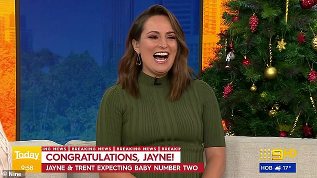 Weekend Today's Jayne Azzopardi announces she is expecting her second child live on the show