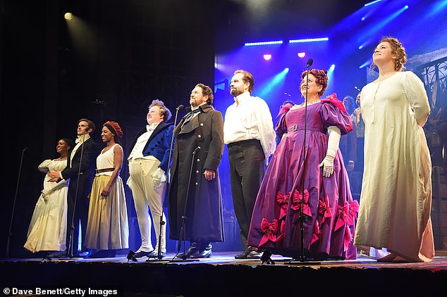 Co-stars: As lockdown rules eased, they stood for a curtain call with co-stars (L-R) Amara Okereke, Rob Houchen, Shan Ako, Katy Secombe and Carrie Hope Fletcher