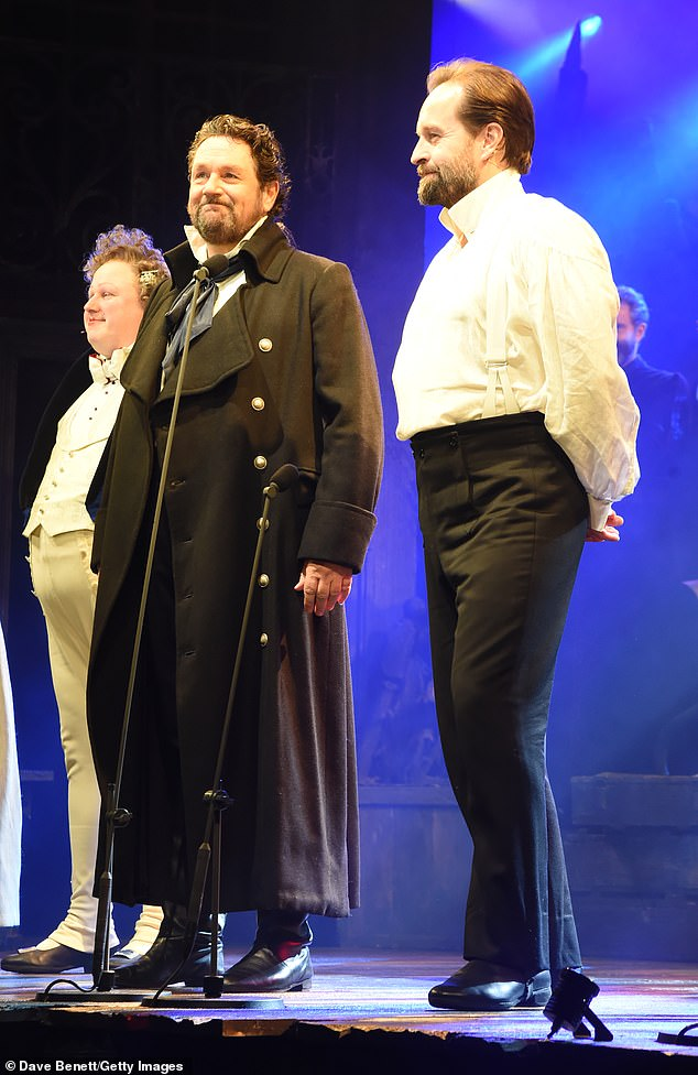 Les Missed you! (L-R) Matt Lucas, Michael Ball and Alfie Boejoined their Les Misérables co-stars on the West End stage for the first time in almost nine months on Saturday