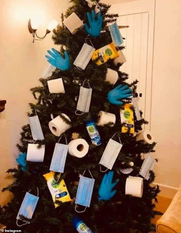 Hello,it's Christmas! This user from Orange County, California made it look as if their tree was waving with the number of blown up gloves