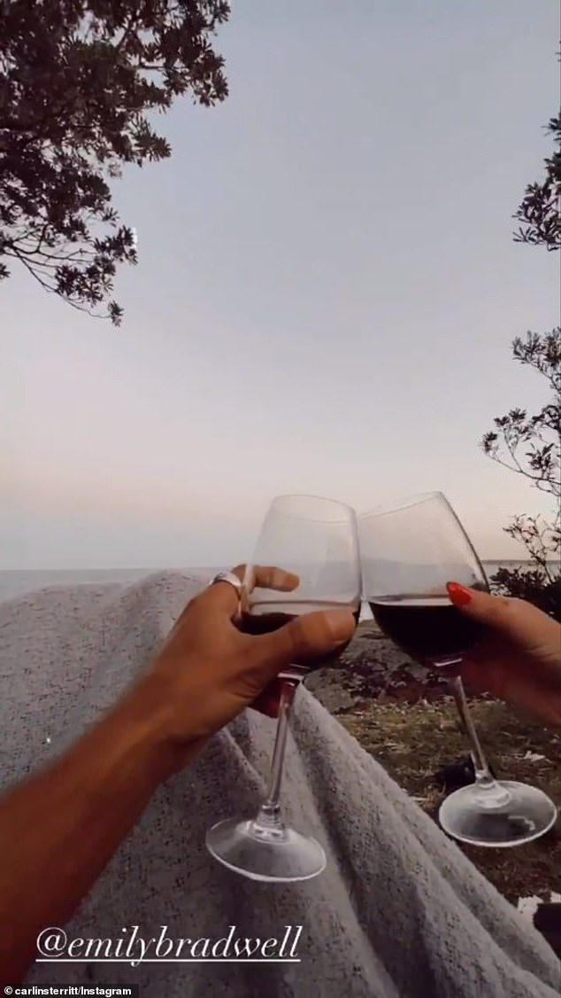 Romantic: On December 10, the fitness trainer and and the blonde beauty clinked two glasses of red wine under a blanket as they took in some picturesque views