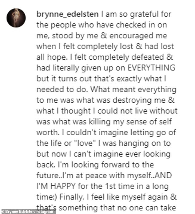 'Finally falling into place': After years of feeling 'completely lost and defeated' with low self-worth, Brynne said she'd finally learnt to love herself again