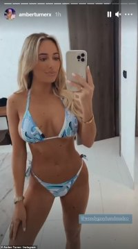 TOWIE's Amber Turner sets pulses racing in a blue bikini during 'business trip' in Dubai