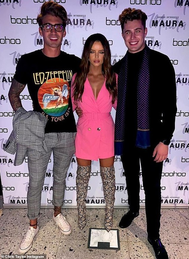 Injured: Curtis Pritchard (right) recently attacked his Love Island ex-girlfriend Maura and 'close' friend Chris after learning of their new romance (Photo in 2019)