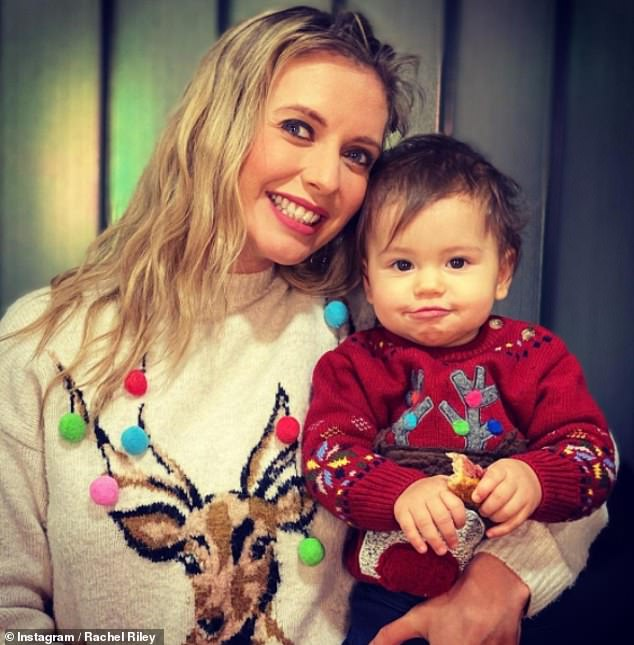 Twinning!  Rachel Riley looked every inch the doting mum as she matched with her little girl Maven in a sweet festive snap shared to Instagram on Thursday