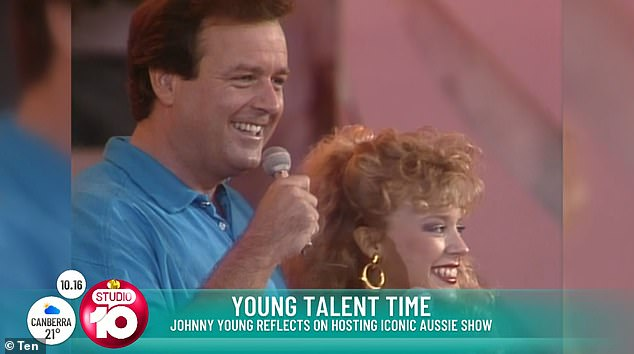 Reunion: The 73-year-old veteran host reflected on the iconic Australian show and revealed the stars 'are going to get together and have a fantastic reunion' in 2021. Pictured Johnny Young and Kylie Minogue on Young Talent Time