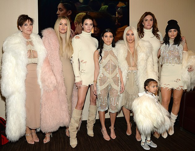Throwback: Kris is pictured in 2016 with all five of her daughters, her ex Caitlyn Jenner and her eldest granddaughter North West who is now seven