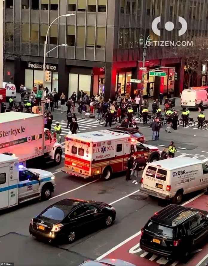Several ambulances and emergency vehicles were seen at East 39th Street and Lexington Avenue in Manhattan on Friday just after 4 p.m.