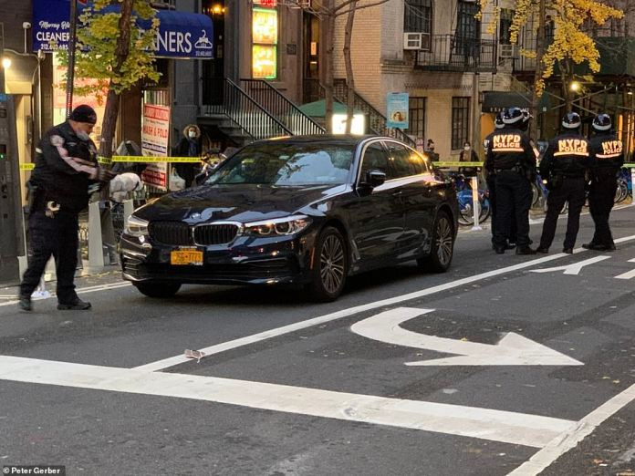 Between 40 and 50 protesters were protesting nearby when the incident unfolded, according to WABC-TV