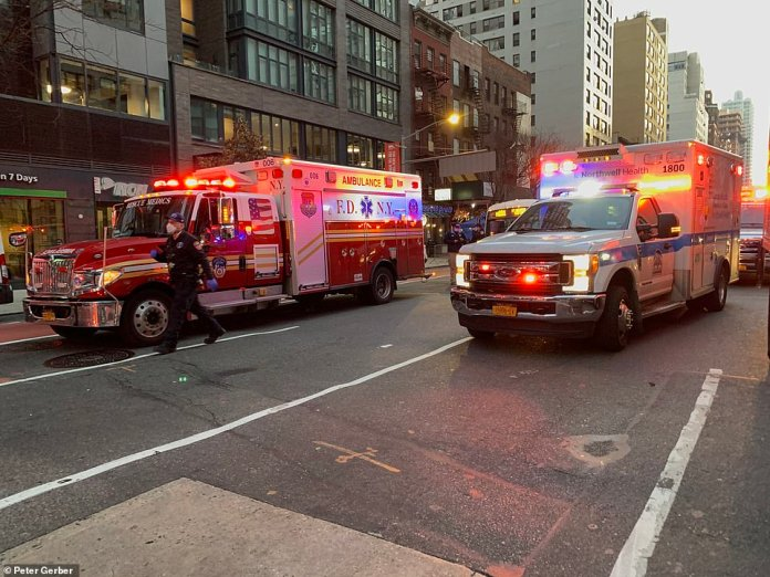 Numerous FDNY vehicles, ambulances and police cars were at the scene as the investigation continues