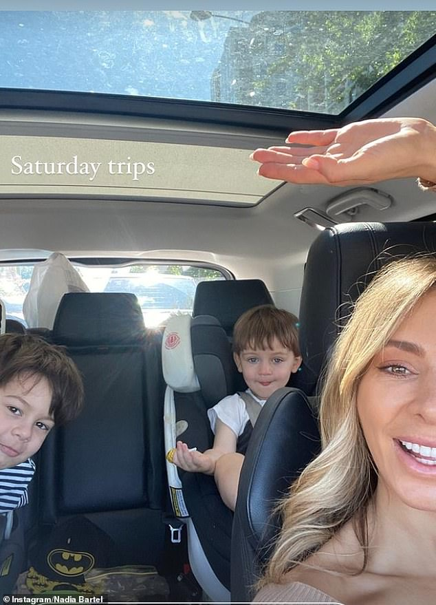 Family fun day! Nadia Bartel enjoyed a family outing with her sons Henley, one, and Aston, four, on Saturday
