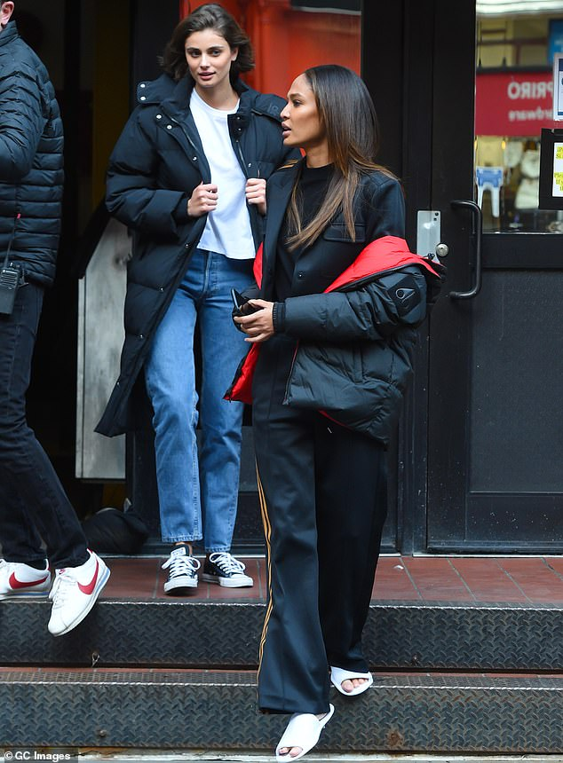 Legging it: Joan Smalls and Taylor Hill put their credentials on display while posing up a storm for a New York photo-shoot on Friday
