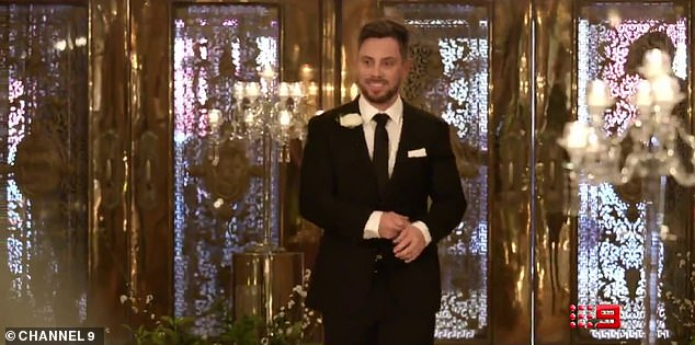 Happy chap:Brisbane native Jason Engler (pictured) looks confident on his wedding day, wearing a tux, in the promotional trailer