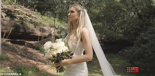 Sunny days ahead:Several other unnamed brides and grooms are also shown in the promo, including a woman with long, wavy blonde hair holding flowers at an outdoor ceremony