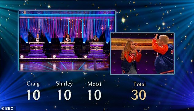 Great score:And the judges were true to their word as they all gave Maisie and Gorka 10 points, giving them a total of 30