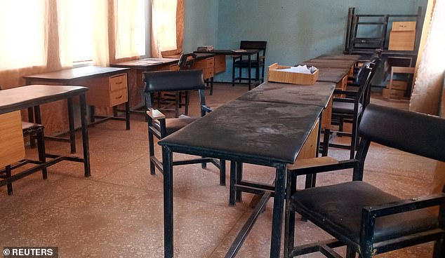 View of a classroom at Government Science High School in Kankara District after the attack.  The bandits stormed the school around 9:40 p.m.