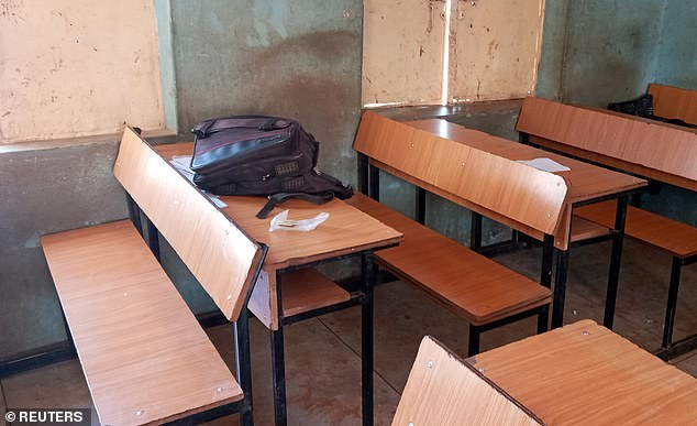A schoolbag is pictured inside a classroom at Government Science Secondary School in Katsina State, northwest Nigeria.  The gunmen carried assault rifles, police said